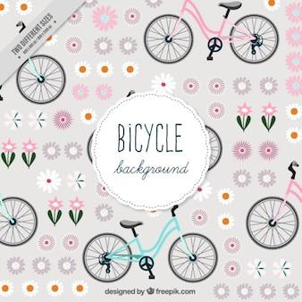 Fondo de bici vintage con flores