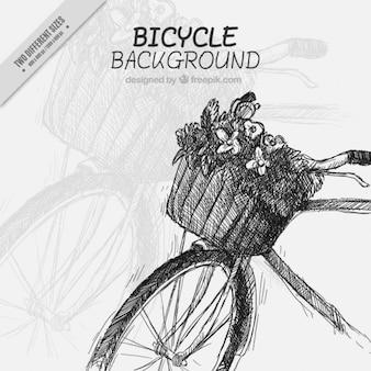 Fondo de bici vintage dibujada a mano con una bonita cesta