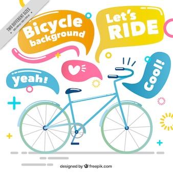 Fondo de bicicleta dibujada a mano con bocadillos de diálogo