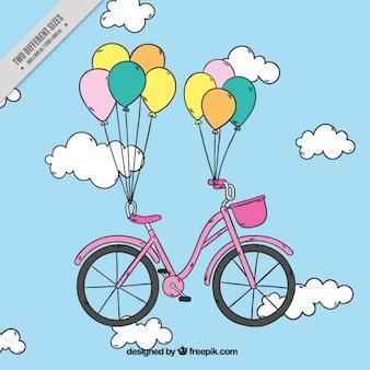 Fondo de bicicleta dibujada a mano con globos