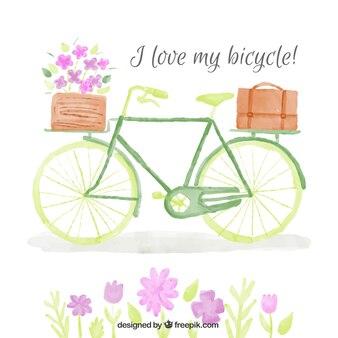 Fondo de bicicleta vintage de acuarela con cesta y flores