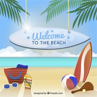 Fondo de bienvenido a la playa