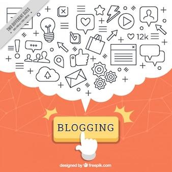 Fondo de blog con globo de diálogo repleto de iconos