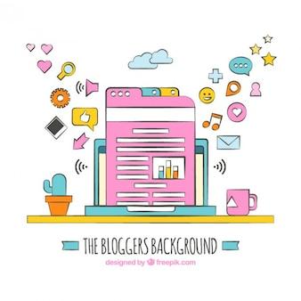 Fondo de blogueros, dibujado a mano