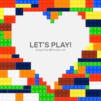 Fondo de bloques con diseño de corazón