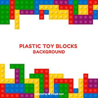 Fondo de bloques de juguete de plástico