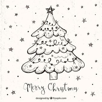 Fondo de boceto de árbol de navidad