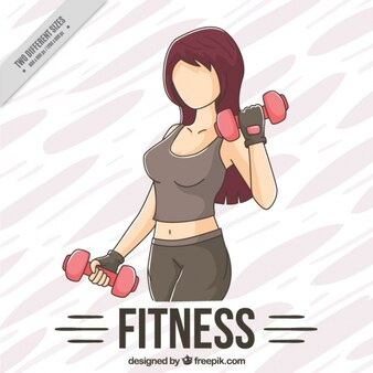 Fondo de boceto de mujer levantando pesas