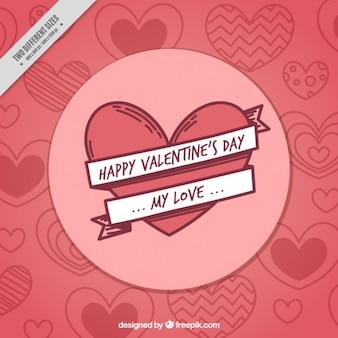 Fondo de bocetos de corazones de feliz san valentín