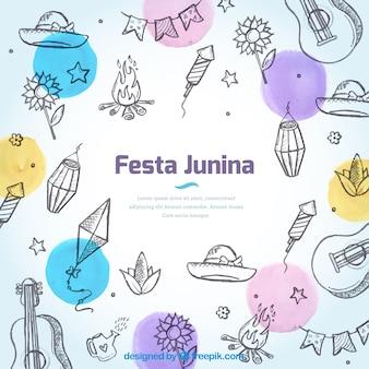 Fondo de bocetos de elementos de festa junina y círculos de colores