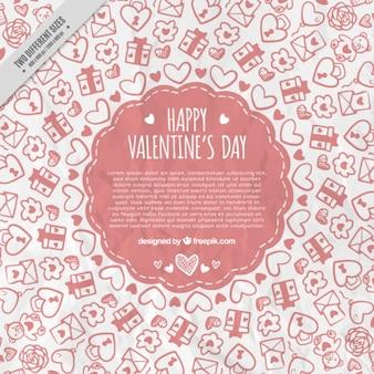 Fondo de bocetos de elementos de san valentín
