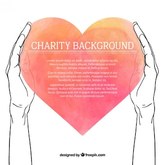 Fondo de bocetos de manos con corazón de acuarela