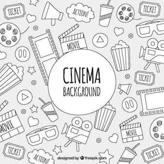Fondo de bocetos de objetos de cine