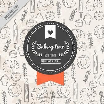 Fondo de bocetos de productos de panadería