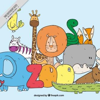 Fondo de bocetos de simpáticos animales salvajes
