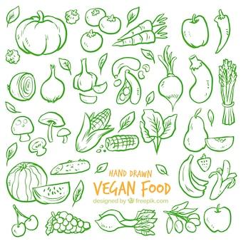 Fondo de bocetos verdes de verduras