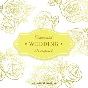Fondo de boda con rosas ornamentales