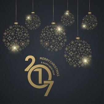 Fondo de bolas de año nuevo con bolas doradas de navidad