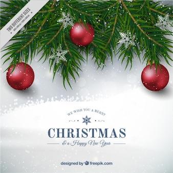 Fondo de bolas de navidad con copos de nieve