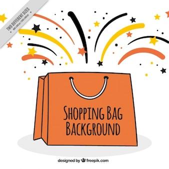 Fondo de bolsa de la compra con estrellas y líneas coloridas