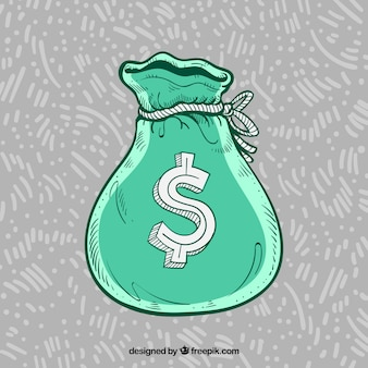 Fondo de bolsa verde con símbolo de dolar dibujado a mano