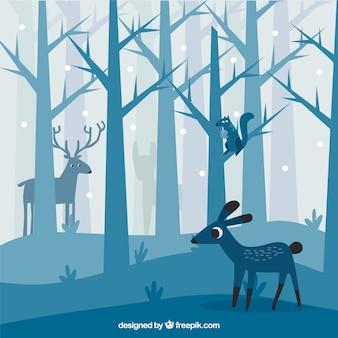 Fondo de bonito bosque con animales