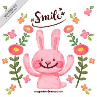 Fondo de bonito conejo y flores de acuarela