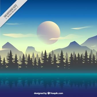 Fondo de bonito paisaje de bosque con un lago en estilo realista
