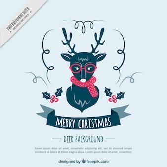 Fondo de bonito reno hipster navideño