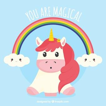 Fondo de bonito unicornio con arcoiris