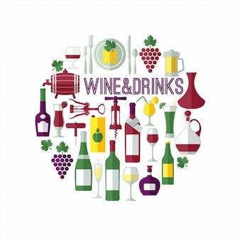 Fondo de bonitos elementos de vino en diseño plano