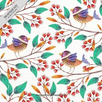 Fondo de bonitos pájaros pintados a mano y ramas