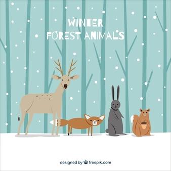 Fondo de bosque de invierno con bonitos animales