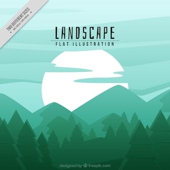 Fondo de bosque y montañas en tonos verdes