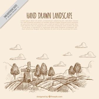 Fondo de bosquejo de paisaje con molino y árboles