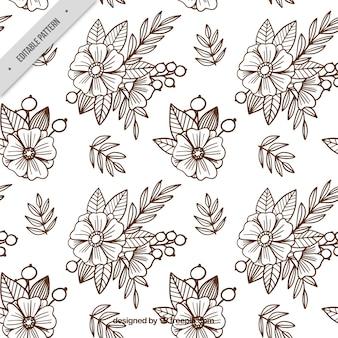 Fondo de bosquejos de flores en estilo batik