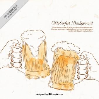Fondo de brindis con cervezas dibujadas a mano