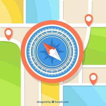 Fondo de brújula sobre mapa