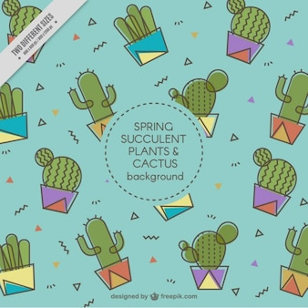 Fondo de cactus en diseño plano