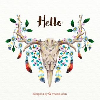 Fondo de calavera de ciervo pintado a mano de acuarela