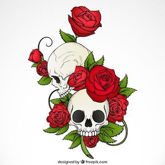 Fondo de calaveras con rosas y hojas dibujadas a mano