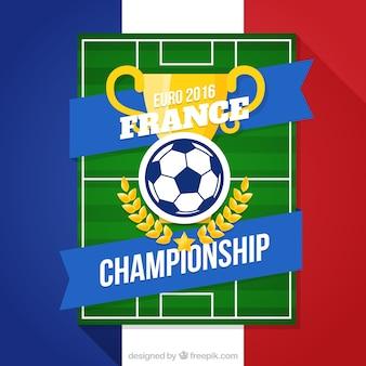 Fondo de campo de fútbol con un trofeo dorado de la eurocopa 2016