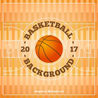 Fondo de cancha de baloncesto con balón