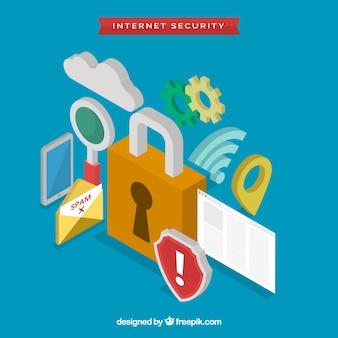 Fondo de candado y otros elementos de seguridad en diseño isométrico
