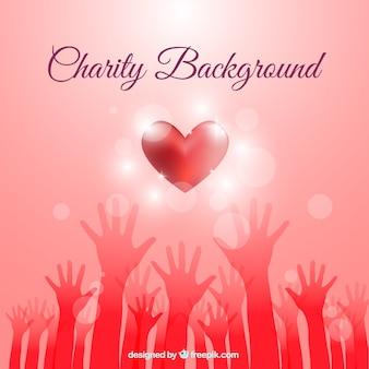 Fondo de caridad rojo con un corazón