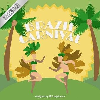 Fondo de carnaval de bailarinas brasileñas