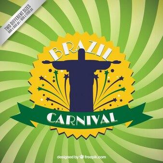 Fondo de carnaval de Brasil con la silueta de Cristo Redentor