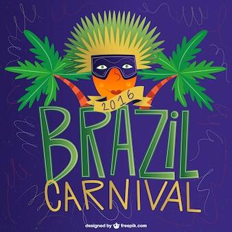 Fondo de carnaval de Brasil de 2016 con palmeras