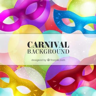 Fondo de carnaval de máscaras brillantes