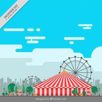 Fondo de carnaval plano con carpa y norias